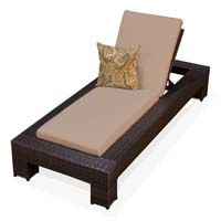 Taupe Outdoor Tropic Wicker Patio Chaise Lounge
