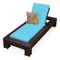 Tropical Blue Outdoor Tropic Wicker Patio Chaise Lounge