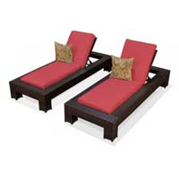 Henna Spice Outdoor Tropic Wicker Patio Chaise Lounge Set