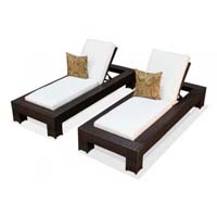 Ivory Outdoor Tropic Wicker Patio Chaise Lounge Set