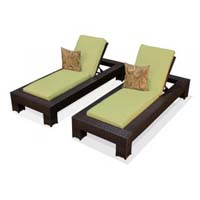 Peridot Outdoor Tropic Wicker Patio Chaise Lounge Set