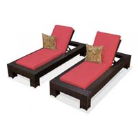 Red Spice Outdoor Tropic Wicker Patio Chaise Lounge Set
