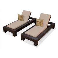 Sand Outdoor Tropic Wicker Patio Chaise Lounge Set