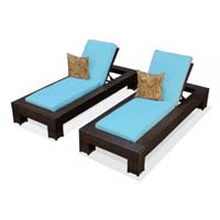 Tropical Blue Outdoor Tropic Wicker Patio Chaise Lounge Set