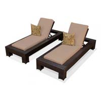 Taupe Outdoor Tropic Wicker Patio Chaise Lounge Set