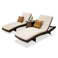Pair of Ivory Outdoor Wicker Patio Chaise Lounges