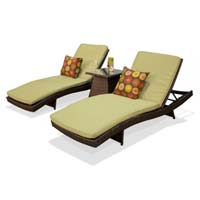 Pair of Peridot Outdoor Wicker Patio Chaise Lounges