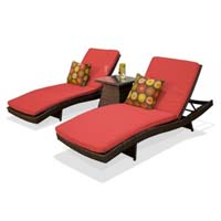 Pair of Red Spice Outdoor Wicker Patio Chaise Lounges