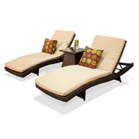 Pair of Sand Outdoor Wicker Patio Chaise Lounges Chaise Lounges