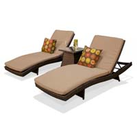 Pair of Taupe Outdoor Wicker Patio Chaise Lounges
