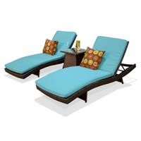 Pair of Tropical Blue Outdoor Wicker Patio Chaise Lounges