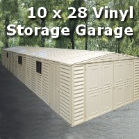 Duramax 10x28 Vinyl Storage Garage with Foundation & Window
