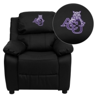 Abilene Christian University Wildcats Embroidered Black Leather Kids Recliner with Storage Arms