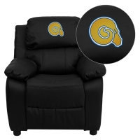 Albany State University Golden Rams Embroidered Black Leather Kids Recliner with Storage Arms