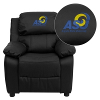 Angelo State University Rams Embroidered Black Leather Kids Recliner with Storage Arms
