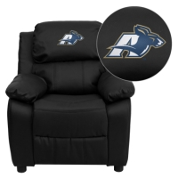 Akron Zips Embroidered Black Leather Kids Recliner