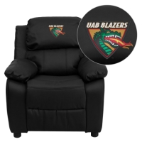 Alabama at Birmingham Blazers Embroidered Black Leather Kids Recliner with Storage Arms