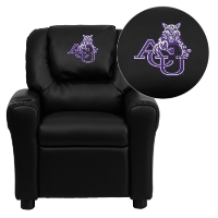 Abilene Christian University Wildcats Embroidered Black Vinyl Kids Recliner with Cup Holder and Headrest