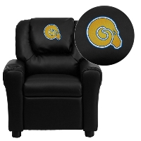 Albany State University Golden Rams Embroidered Black Vinyl Kids Recliner with Cup Holder and Headrest
