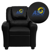 Angelo State University Rams Embroidered Black Vinyl Kids Recliner with Cup Holder and Headrest