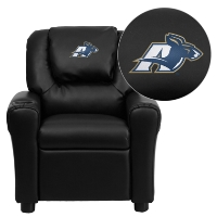 Akron Zips Embroidered Black Vinyl Kids Recliner with Cup Holder and Headrest