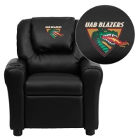 Alabama at Birmingham Blazers Embroidered Black Vinyl Kids Recliner with Cup Holder and Headrest