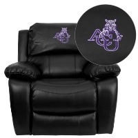 Abilene Christian University Wildcats Embroidered Black Leather Rocker Recliner