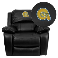 Albany State University Golden Rams Embroidered Black Leather Rocker Recliner
