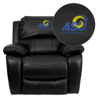 Angelo State University Rams Embroidered Black Leather Rocker Recliner