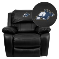 Akron Zips Embroidered Black Leather Rocker Recliner