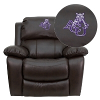 Angelo State University Rams Embroidered Brown Leather Rocker Recliner