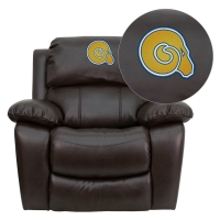 Albany State University Golden Rams Embroidered Brown Leather Rocker Recliner