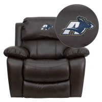 Akron Zips Embroidered Brown Leather Rocker Recliner
