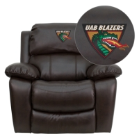 Alabama at Birmingham Blazers Embroidered Brown Leather Rocker Recliner