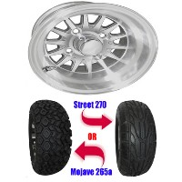 "Brand New Lifted Golf Cart Tires and 10"" RHOX Phoenix Machined Wheels Set"