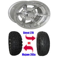 "Brand New Lifted Golf Cart Tires and 10"" RHOX Richmond Polished Wheels Set"