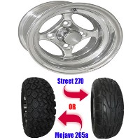"Brand New Lifted Golf Cart Tires and 10"" RHOX Indy Polished Wheels Set"