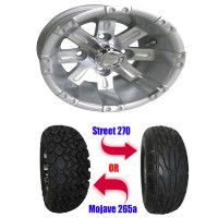 "Brand New Lifted Golf Cart Tires and 10"" RHOX Vegas Machined Wheels Set"