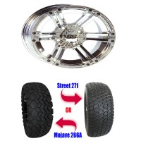 "Brand New 23"" Lifted Golf Cart Tires and 12"" Chrome Wheels Set"
