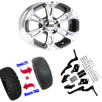 "12"" Wheel/Tire Combo Package with Lift Kit.  Fits EZGO TXT/Medalist 01-10."