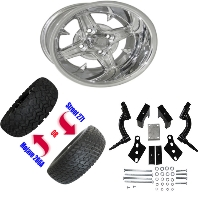 Wheel/Tire Combo Package with Lift Kit.  Fits Club Car Precedent 04-Current.