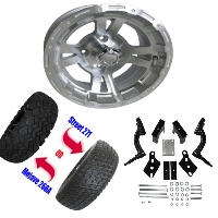 "12"" Wheel/Tire Combo Package with Lift Kit.  Fits Club Car DS (Gas) 94-03 and (Electric) 84-03"