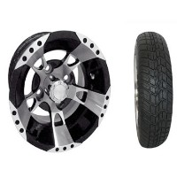 "Brand New Lifted Golf Cart Tires and 10"" RHOX Wheels Set"
