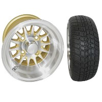"Brand New Lifted Golf Cart Tires and 10"" Gold RHOX Phoenix Machined Wheels Set"