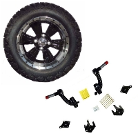 "14"" Lifted Golf Cart Tire/Wheel Package Combo with Electric Lift Kit.  Fits EZGO TXT (Gas) 01-08."