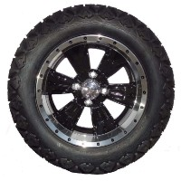 "Brand New Lifted Golf Cart Tires and 14"" Optimus Black Wheels Set"