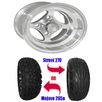 "Brand New Lifted Golf Cart Tires and 10"" RHOX Indy Wheels Set"