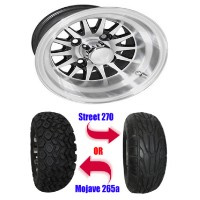 "Brand New Lifted Golf Cart Tires and Black 10"" RHOX Phoenix Machined Wheels Set"