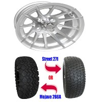 "Brand New 23"" Lifted Golf Cart Tires and 12"" RX103 12 Spoke Machined Wheels Set"