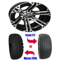 "Brand New Lifted Golf Cart Tires and Black 12"" ITP SS212 Machined Wheels Set"